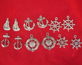 "12pc set ""anchor"" charms in antique silver style (BC1258)"