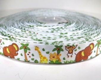 "5 yards of 7/8 inch ""Zoo animals"" grosgrain ribbon"