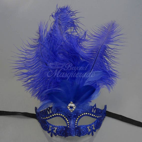 Masquerade Mask Royal Blue Feathers Masquerade Ball Mask