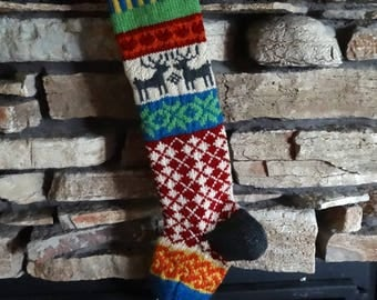 Knit Christmas Stocking, Personalized Christmas Stockings, Knitted Christmas Stockings, Knit Christmas Stockings, Gray Reindeer, Red Argyle
