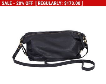Black Leather Tote Bag / Shoulder Bag / Cross Body Bag / Cosmetic Purse / Soft Leather Handbag - Martin Bag