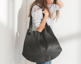 Handmade Leather Bags, Black Leather Bag, Soft Leather Bag, Tote Bag, Large Tote Bag, Unique Womens Totes, Leather Tote Bag  - Carolina bag