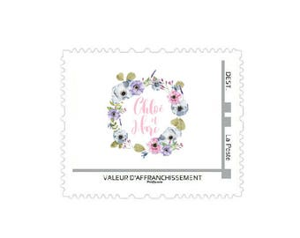 Printable wedding postage stamp - Personalized postage stamp - Wedding postage stamp - Floral postage stamp - Flowers postage stamp