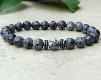 Men's Bracelet, Labradorite Gemstone, Gray Yoga Stretch Bracelet, Tibetan Jewelry,  Beaded Male Bracelet, Spiritual Healing Bracelet, Mala