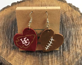 Chiefs Leather Football Earrings, Chiefts Leather Heart Football Earrings, Leather Football Earrings, Football Earrings, Chiefs Earrings