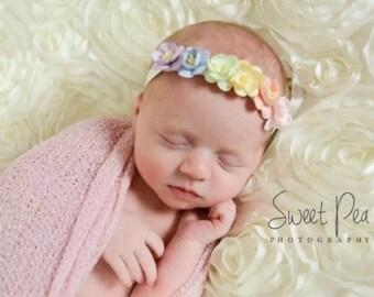Rainbow headband, pastel rainbow headband, newborn rainbow headband, rainbow flower headband, rainbow floral crown