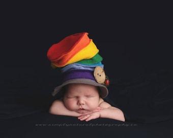 Rainbow hat, newborn photography prop, UK seller, made to order photography prop, rainbow photo prop,multicoloured prop, rainbow baby prop