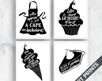 Apron, Cupcake, Ice Cream, Pie (Comfort Food Series A) Set of 4 - Art Prints (Featured on Black and White)