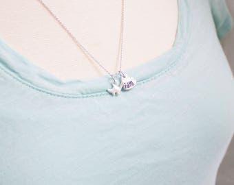 Mama Brontosaurus Neckace - Silver Dinosaur Necklace - Gift for Mom - Dinosaur Mother - Mom and Baby Dino - Gift for Mother's Day Necklace