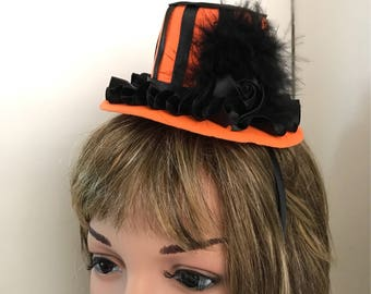 Mini Top Hat Black And Orange Top Hats, Steampunk, Steampunk Hats, Fantasy Hats, Lolita Steampunk Costume, Costume, Halloween Hats