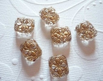 Rectangular beads in acrylic with gilding 12 x 11 mm by 2