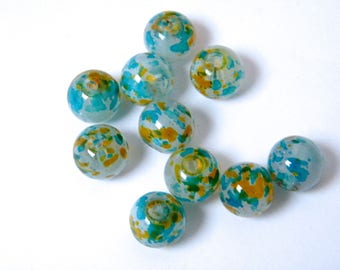 Glass beads, round, speckled, blue, orange, lots