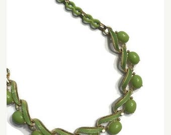 CLEARANCE Green Thermoset Lucite and Enamel Necklace, Vintage 1950s Choker, Costume Jewelry