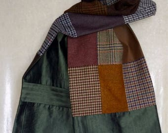 Patchwork wool lined in silk green and bronze shawl scarf