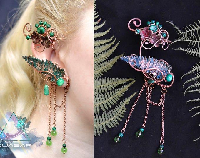 """Ear cuff """"In wild ferns""""   wire ear cuff with real copper fern's leaf, elven, elvish jewelry, elf ear cuff, elven ear, fairy, electroforming"""