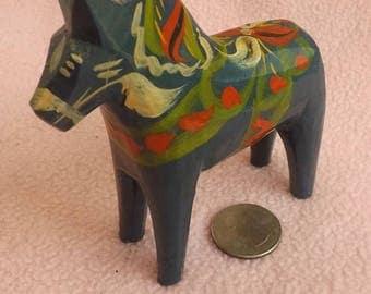 Vintage Dala Swedish Blue Nils Olsson Wooden Horse