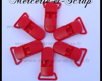 2 ties 22mm red plastic pacifier crocodile 017