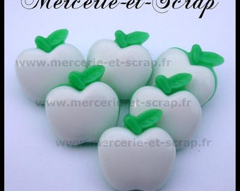 Set of 6 wood Apple green white 20mm Plastic fruit buttons