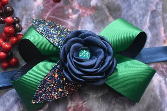 Festive emerald green and navy Bow - Baby / Toddler / Girls / Kids Headband / Hairband / Hair bow / Barrette / Hairclip /Christmas