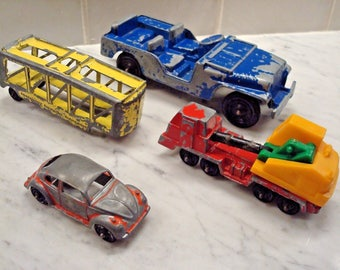 Vintage Lot of Vintage Tootsie-Toy Diecast Vehicles - (4) Pieces - Retro Fun Collectibles!!