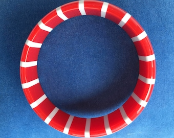 Red and White Striped Bangle Bracelet Resin Ladies Jewelry