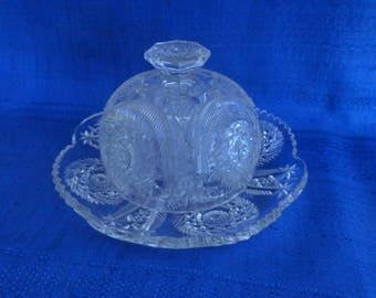Vintage Cut Glass Dome Butter Keeper,Cut Glass Cheese Keeper,Round Butter Dish,Round Cheese Dish,Cut Glass Crystal Butter Keeper