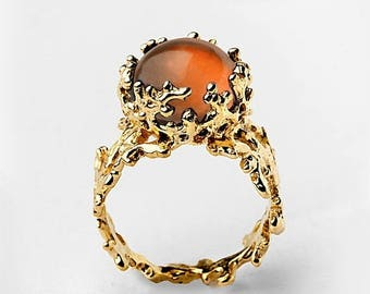 SALE 20% Off - CORAL Baltic Amber Ring, Statement Ring, Gold Amber Ring, Gold Gemstone Ring, Natural Amber Ring, Unique Gold Ring, Gold Ring