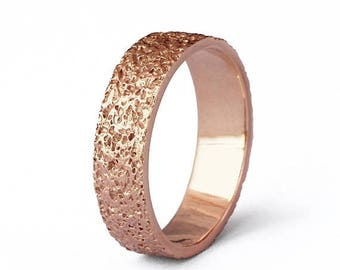 SALE 20% Off - STARDUST Rose Gold Wedding Band, Alternative Wedding Band, Textured Wedding Band, Mens Rose Gold Wedding Band Ring