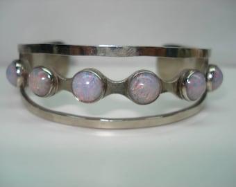 Sterling Silver Cabochon  Opal Cuff Bracelet
