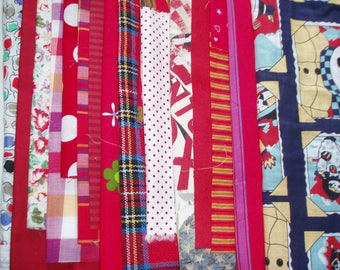 set of 500 g fabrics of different sizes in shades of Red my BOX5