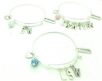 Social worker bracelet bangle, social worker intern bracelet bangle, LSW  bracelet, SW bracelet, social worker gift, Social Work intern gift