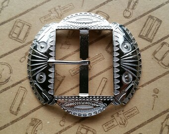 """No.1004 1930's Reproduction Buckle 1 3/4"""" for Studded Jeweled Western Belt"""
