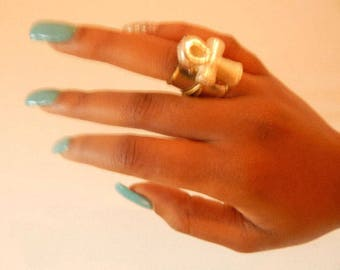 Unique Ring with Ancient Egyptian Lead free Silver plated Ankh (Eternal Life)