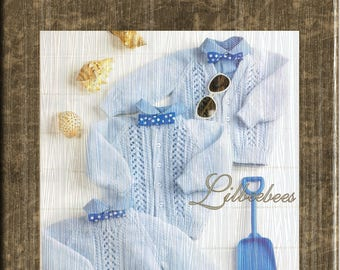 Baby Knitting Pattern - PDF Download, Bay Sweater and Cardigans to fit 46 - 61 cm chests, knitted in Double Knit yarn