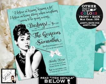 Breakfast at Tiffany's Bridal Shower Invitation, custom Audrey Hepburn invites, turquoise blue white bow ribbon, 5x7 double sided. PRINTABLE