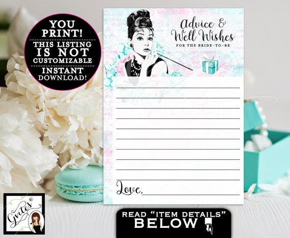 """Breakfast at Advice cards, and co bridal wishes for the bride, bridal games, blue Audrey Hepburn party printables, 5x7"""" 2 Per/Sheet"""