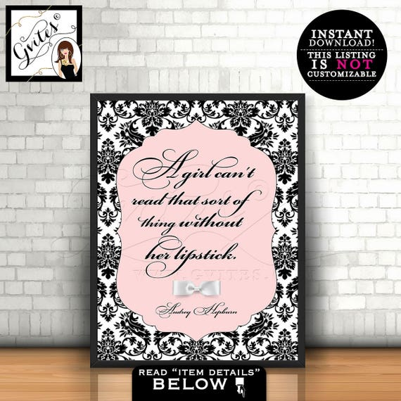 Audrey Hepburn Quote wall art, poster, blush pink Audrey quote, a girl can't read without her lipstick on, Instant Download, PRINTABLE