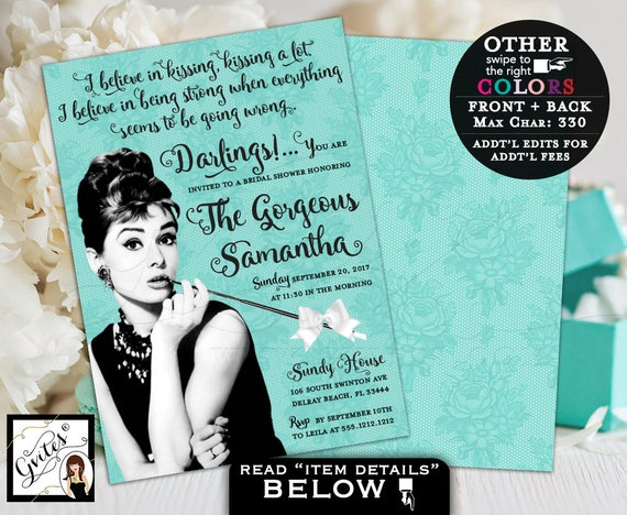 Breakfast at Tiffany's Bridal Shower Invitation, custom Audrey Hepburn invites, turquoise blue white bow ribbon, 5x7 double sided. PRINTABLE