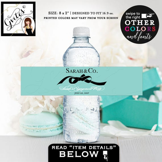 """Engagement water bottle labels, Personalized bride and co blue themed, stickers, decorations, printable. 8x2""""/5 Per Sheet Digital File Only!"""