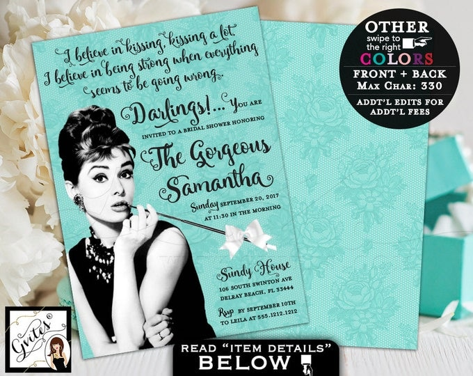 Breakfast at Tiffanys Bridal Shower Invitation, custom Audrey Hepburn invites, turquoise blue white bow ribbon, 5x7 double sided. PRINTABLE