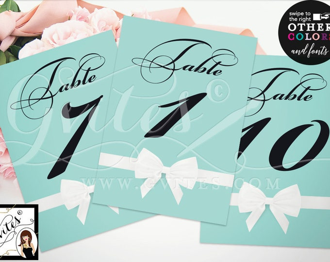 "Breakfast at Tiffany's Party Printable Table Numbers, Customizable Colors and Fonts, Digital File {Table Numbers 1-10} {4x6"" or 5x7""}"