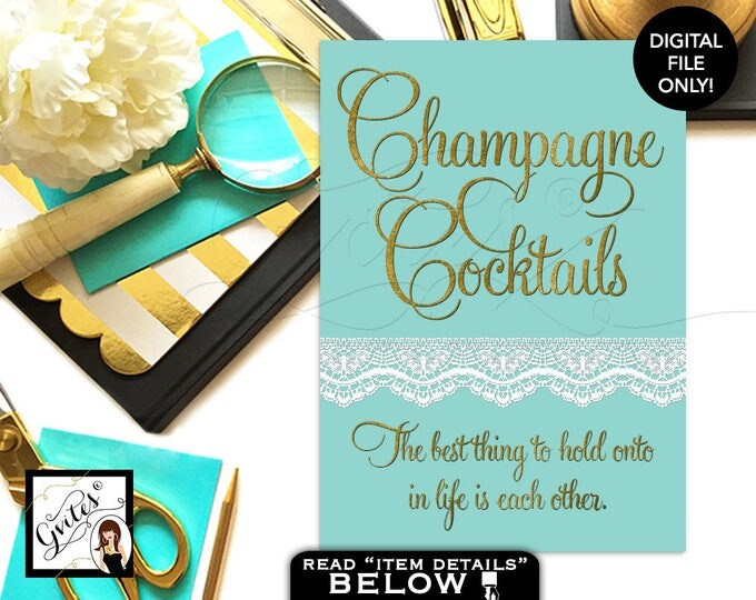 Customizable Signs, Champagne cocktails, breakfast at co blue party quotes, bar signs, other Audrey Hepburn quote 4x6 or 5x7.
