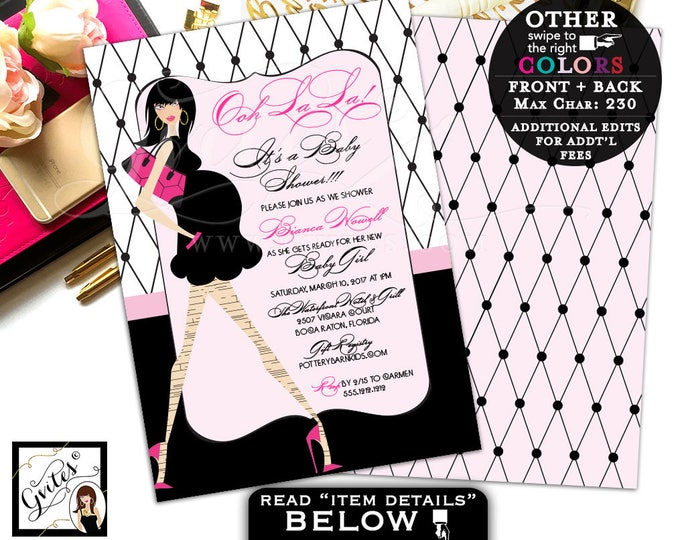 Ooh La La invitation Paris baby shower, baby girl pink baby shower invitation, paris girl white black, 5x7 double sided. DIGITAL!