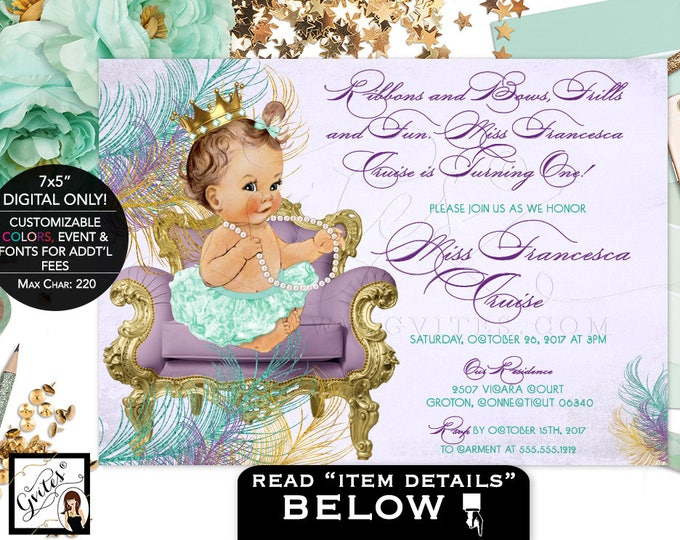 Mint and Gold FIRST Birthday invitation, princess girl, purple and green lavender, ribbons bows diamonds pearls. DIGITAL ONLY! 7x5""