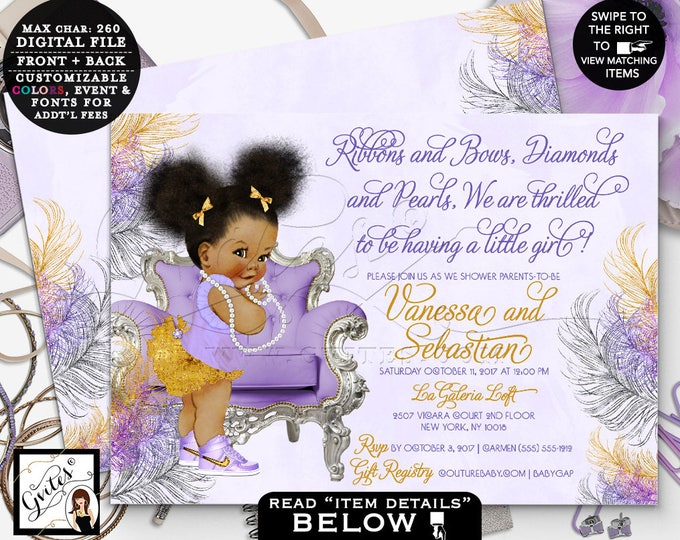 "Purple and gold baby shower, lavender silver and gold invitations, afro puffs baby girl, vintage ribbons bows diamonds pearls, 7x5"" DIGITAL!"