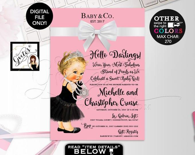 "Baby and Co Pink Baby Shower Invitation, Audrey Hepburn Baby Girl Vintage, Princess Silver Tiara, White Bow, DIY, DIGITAL FILE, 5x7"""