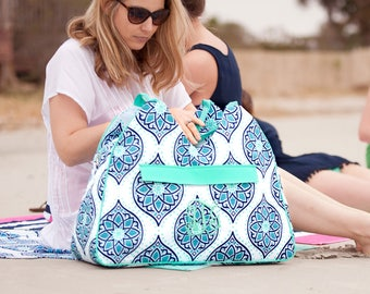 Monogram Beach Bag Boho Pattern monogram included add on matching towel and zipper pouch and cooler too