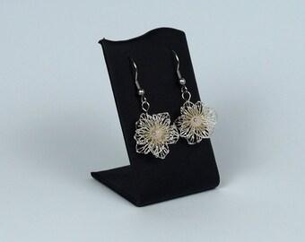 Rose Quartz earrings plated silver pendant, silver plated earrings earrings flower, fashion jewelry for teens, gift for women,