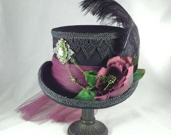 Steampunk Hat, Victorian Hat, Steampunk Wedding, Victorian Riding Hat, Top Hat, Steampunk Top Hat, Black Top Hat, Purple Top Hat, Cosplay