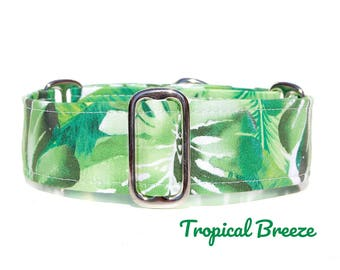 """Tropical Green Martingale Dog Collar, Green Palm Leaves Modern Dog Collar, Wide Brass or Nickel in 1"""" to 2 Inch Options, Custom Sizes"""